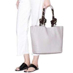 Gray Leather Climbing Rope Tote